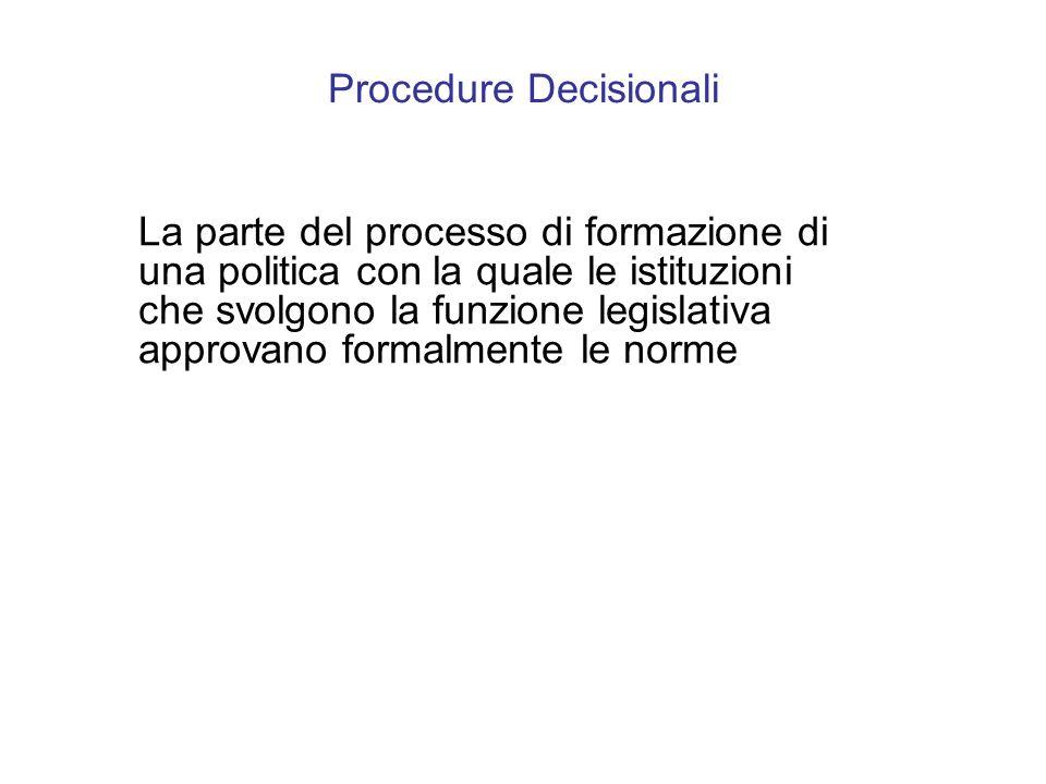 Procedure Decisionali La parte del processo di formazione di una politica con la quale le istituzioni che svolgono la funzione legislativa approvano formalmente le norme