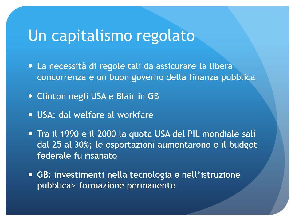 Un capitalismo regolato La necessità di regole tali da assicurare la libera concorrenza e un buon governo della finanza pubblica Clinton negli USA e B
