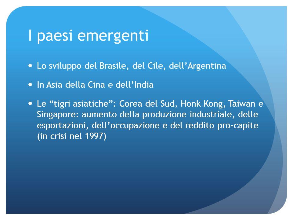 I paesi emergenti Lo sviluppo del Brasile, del Cile, dellArgentina In Asia della Cina e dellIndia Le tigri asiatiche: Corea del Sud, Honk Kong, Taiwan