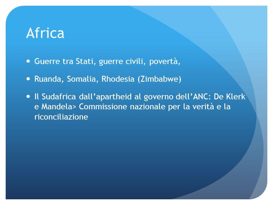 Africa Guerre tra Stati, guerre civili, povertà, Ruanda, Somalia, Rhodesia (Zimbabwe) Il Sudafrica dallapartheid al governo dellANC: De Klerk e Mandel