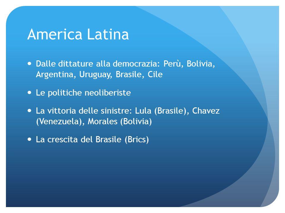 America Latina Dalle dittature alla democrazia: Perù, Bolivia, Argentina, Uruguay, Brasile, Cile Le politiche neoliberiste La vittoria delle sinistre: