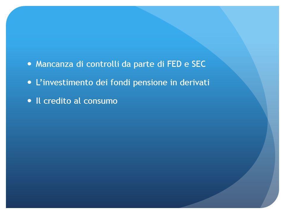 Mancanza di controlli da parte di FED e SEC Linvestimento dei fondi pensione in derivati Il credito al consumo