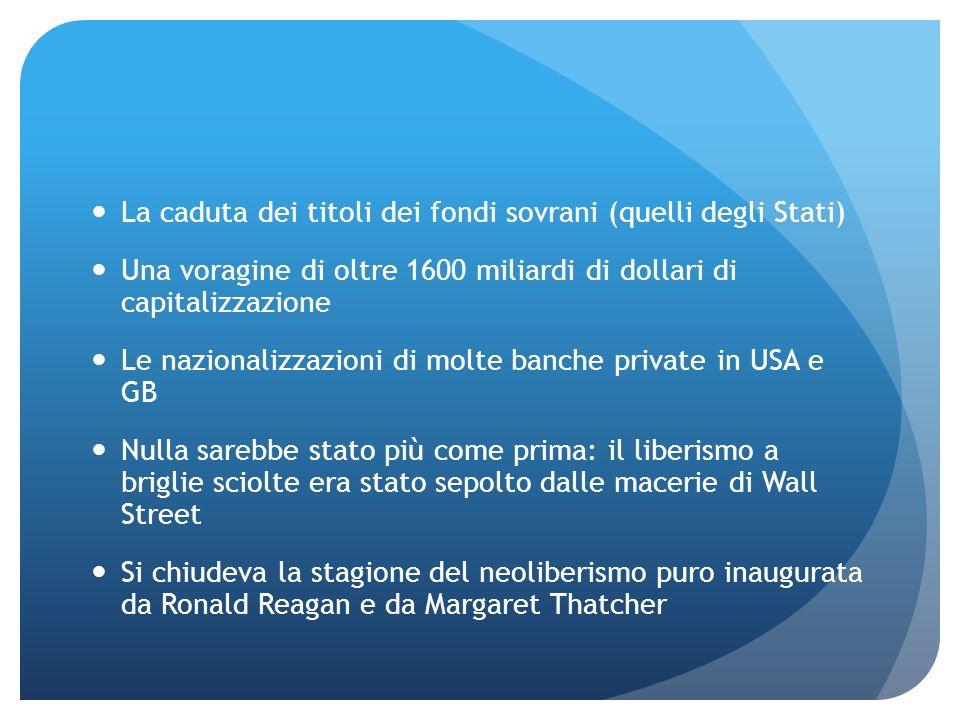 La caduta dei titoli dei fondi sovrani (quelli degli Stati) Una voragine di oltre 1600 miliardi di dollari di capitalizzazione Le nazionalizzazioni di
