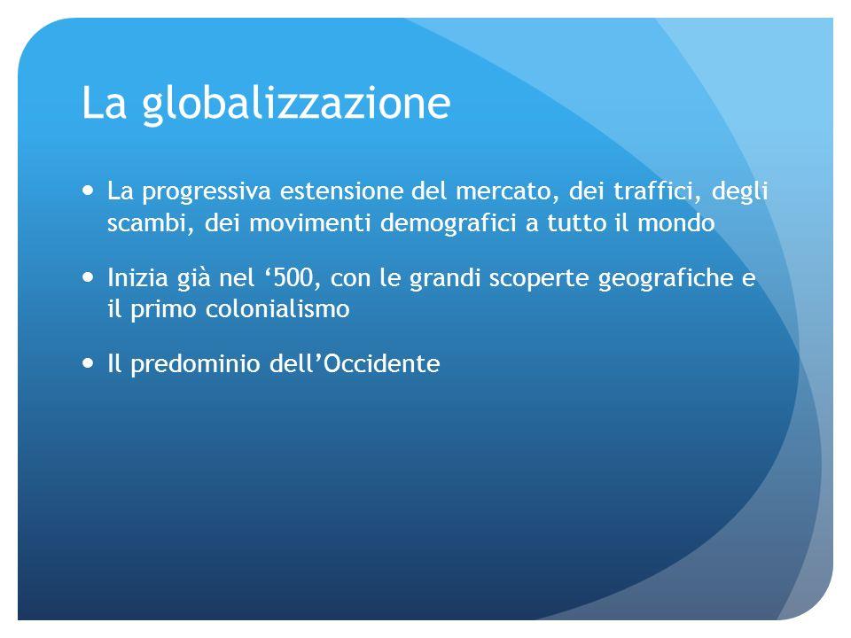 La globalizzazione La progressiva estensione del mercato, dei traffici, degli scambi, dei movimenti demografici a tutto il mondo Inizia già nel 500, c