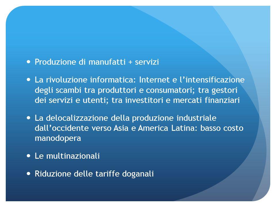 Produzione di manufatti + servizi La rivoluzione informatica: Internet e lintensificazione degli scambi tra produttori e consumatori; tra gestori dei
