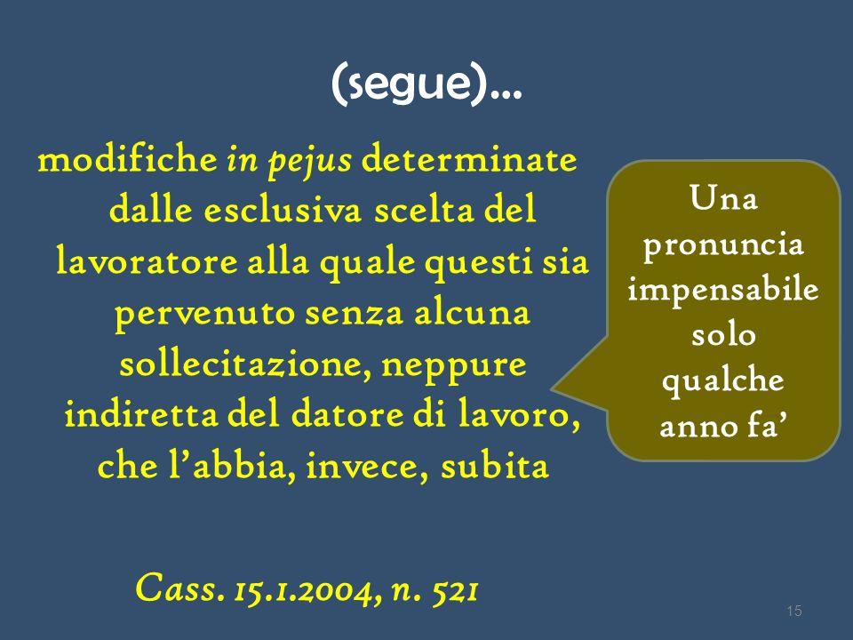 (segue)… modifiche in pejus determinate dalle esclusiva scelta del lavoratore alla quale questi sia pervenuto senza alcuna sollecitazione, neppure ind