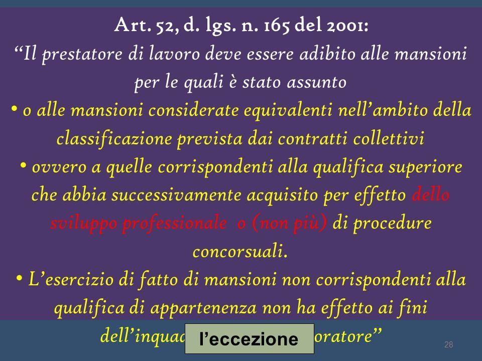 Art. 52, d. lgs. n. 165 del 2001: Il prestatore di lavoro deve essere adibito alle mansioni per le quali è stato assunto o alle mansioni considerate e