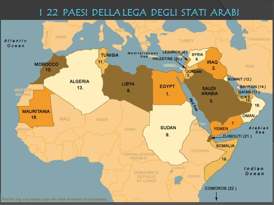 1945: Egitto, Iraq, Giordania, Libano, Arabia Saudita, Siria, Yemen 1953: Libia 1956: Sudan 1958: Marocco, Tunisia 1961: Kuwait 1962: Algeria 1971: Bahrain, Emirati Arabi Uniti, Oman, Qatar 1973: Mauritania 1974: Somalia 1976: Territori Palestinesi 1977: Gibuti 1993: Comore