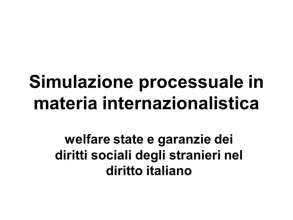 Simulazione processuale in materia internazionalistica welfare state e garanzie dei diritti sociali degli stranieri nel diritto italiano