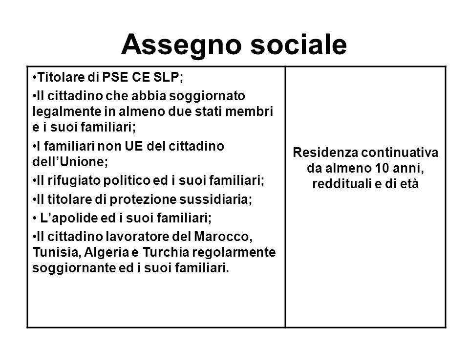 Assegno sociale Titolare di PSE CE SLP; Il cittadino che abbia soggiornato legalmente in almeno due stati membri e i suoi familiari; I familiari non U