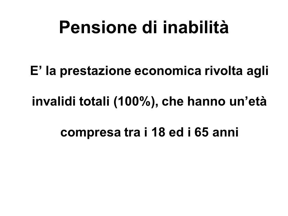 Pensione di inabilità E la prestazione economica rivolta agli invalidi totali (100%), che hanno unetà compresa tra i 18 ed i 65 anni