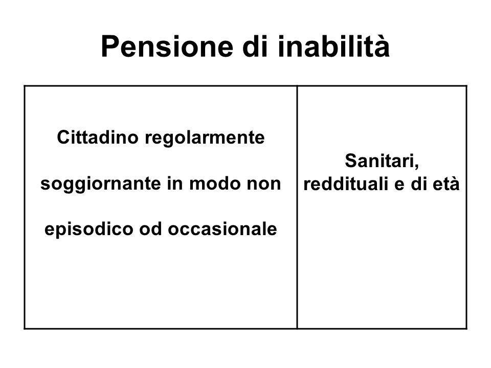 Pensione di inabilità Cittadino regolarmente soggiornante in modo non episodico od occasionale Sanitari, reddituali e di età