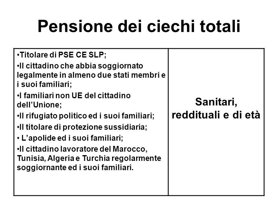 Pensione dei ciechi totali Titolare di PSE CE SLP; Il cittadino che abbia soggiornato legalmente in almeno due stati membri e i suoi familiari; I fami