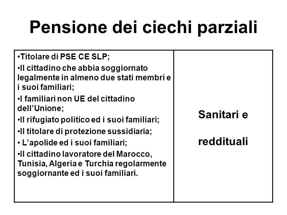 Pensione dei ciechi parziali Titolare di PSE CE SLP; Il cittadino che abbia soggiornato legalmente in almeno due stati membri e i suoi familiari; I fa