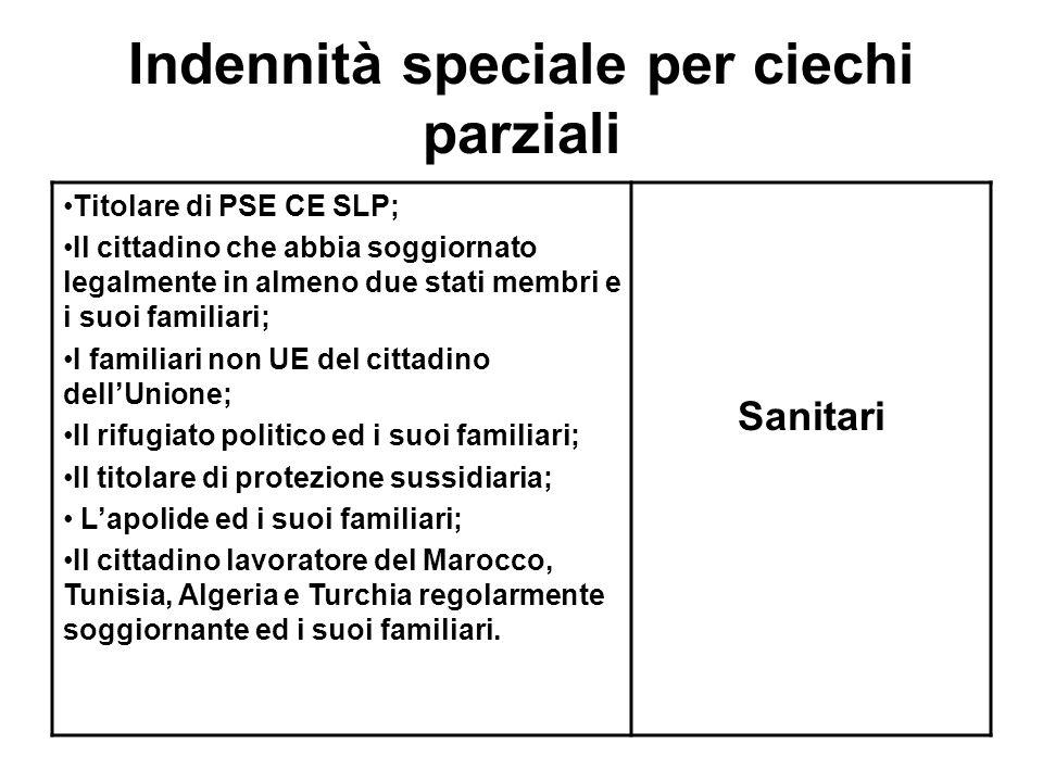 Indennità speciale per ciechi parziali Titolare di PSE CE SLP; Il cittadino che abbia soggiornato legalmente in almeno due stati membri e i suoi famil