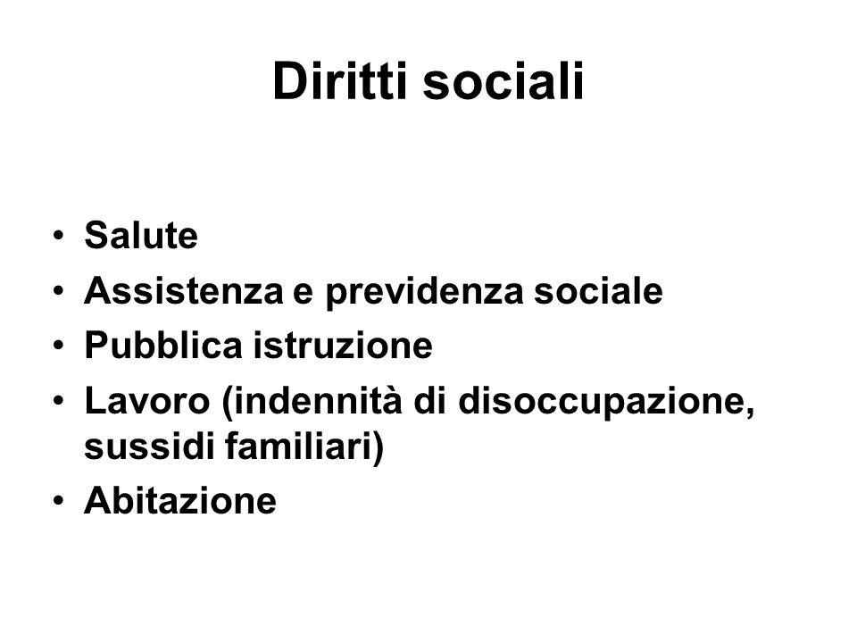 Diritti sociali Salute Assistenza e previdenza sociale Pubblica istruzione Lavoro (indennità di disoccupazione, sussidi familiari) Abitazione