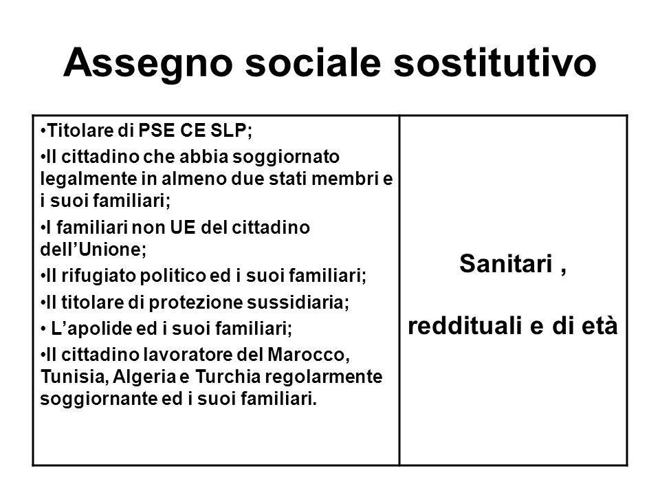Assegno sociale sostitutivo Titolare di PSE CE SLP; Il cittadino che abbia soggiornato legalmente in almeno due stati membri e i suoi familiari; I fam