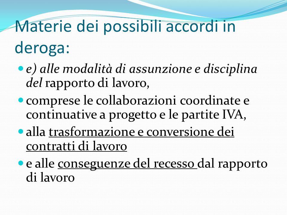 Materie dei possibili accordi in deroga: e) alle modalità di assunzione e disciplina del rapporto di lavoro, comprese le collaborazioni coordinate e c