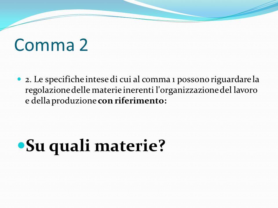 Comma 2 2. Le specifiche intese di cui al comma 1 possono riguardare la regolazione delle materie inerenti l'organizzazione del lavoro e della produzi