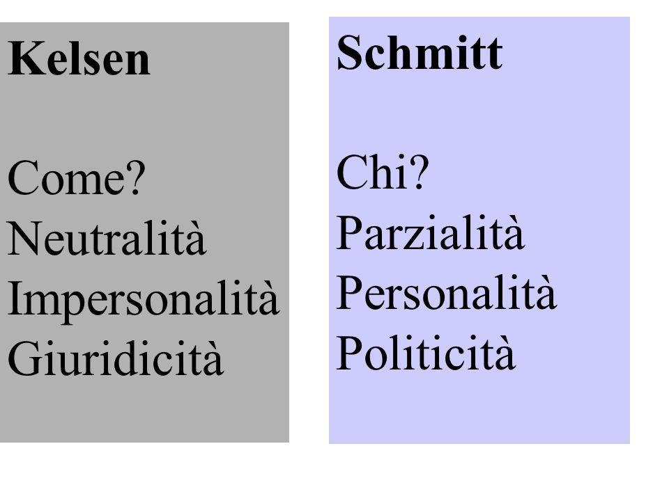 Kelsen Come? Neutralità Impersonalità Giuridicità Schmitt Chi? Parzialità Personalità Politicità