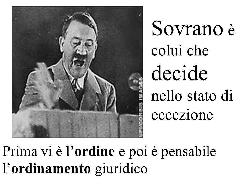 Sovrano è colui che decide nello stato di eccezione Prima vi è lordine e poi è pensabile lordinamento giuridico