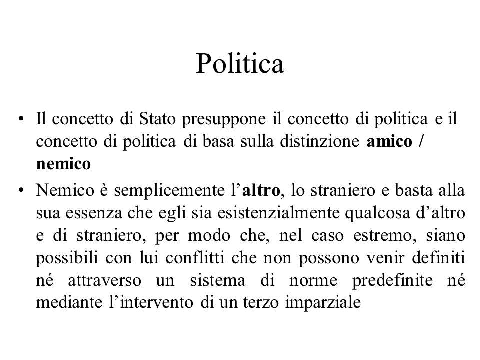 Politica Il concetto di Stato presuppone il concetto di politica e il concetto di politica di basa sulla distinzione amico / nemico Nemico è semplicem