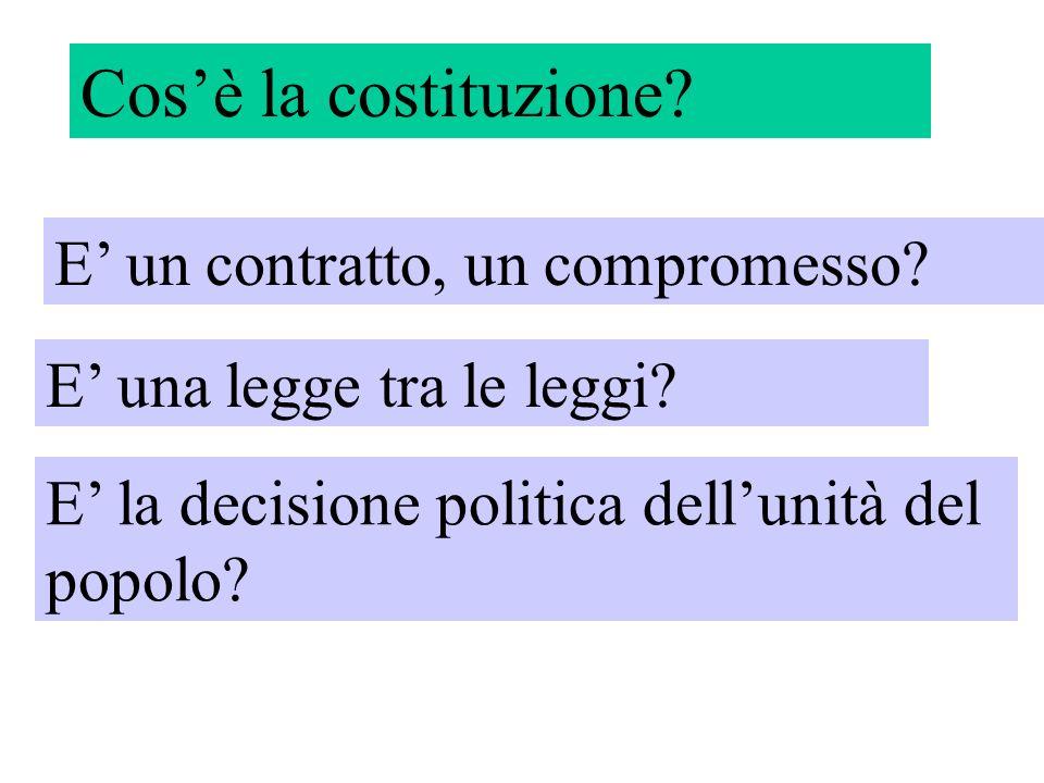 Cosè la costituzione? E un contratto, un compromesso? E una legge tra le leggi? E la decisione politica dellunità del popolo?