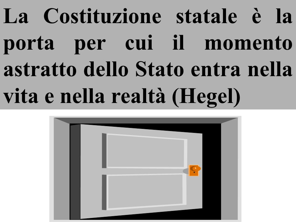 La Costituzione statale è la porta per cui il momento astratto dello Stato entra nella vita e nella realtà (Hegel)
