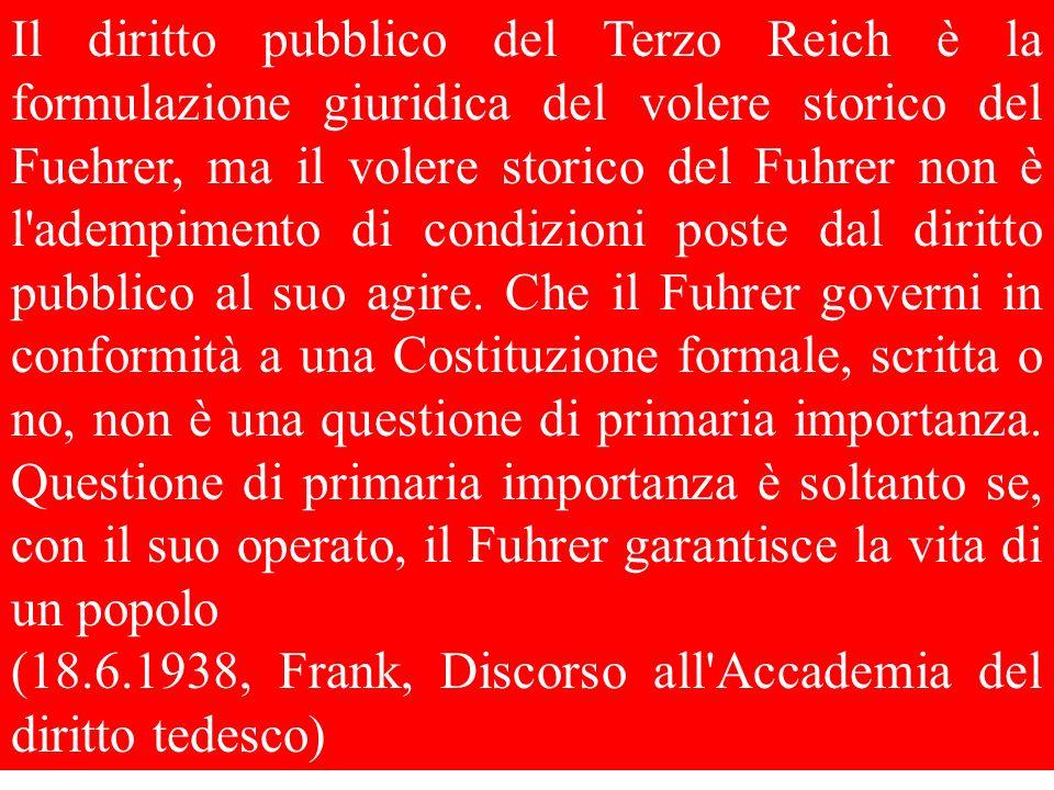 Il diritto pubblico del Terzo Reich è la formulazione giuridica del volere storico del Fuehrer, ma il volere storico del Fuhrer non è l'adempimento di