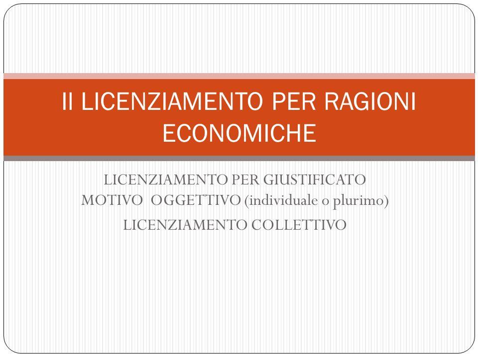 LICENZIAMENTO PER GIUSTIFICATO MOTIVO OGGETTIVO (individuale o plurimo) LICENZIAMENTO COLLETTIVO Il LICENZIAMENTO PER RAGIONI ECONOMICHE