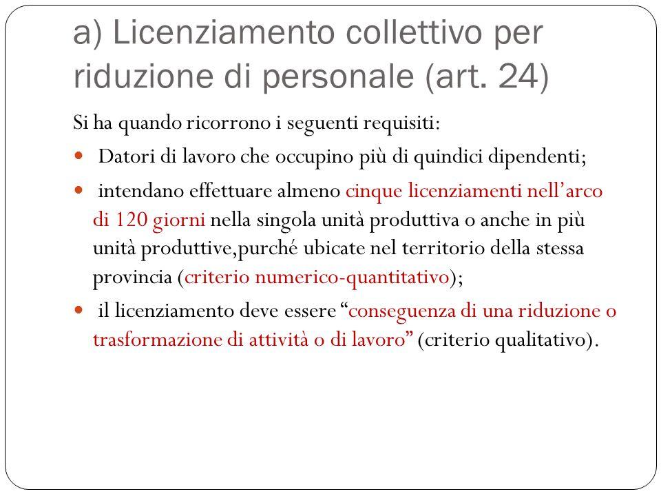 La L. n. 223/1991 prevede due fattispecie di licenziamento collettivo Il licenziamento collettivo nozione (istituto regolato da una direttiva europea)