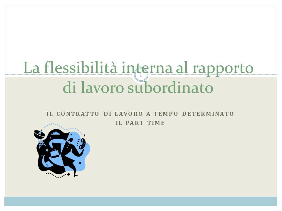 La flessibilità interna al rapporto di lavoro subordinato IL CONTRATTO DI LAVORO A TEMPO DETERMINATO IL PART TIME 1