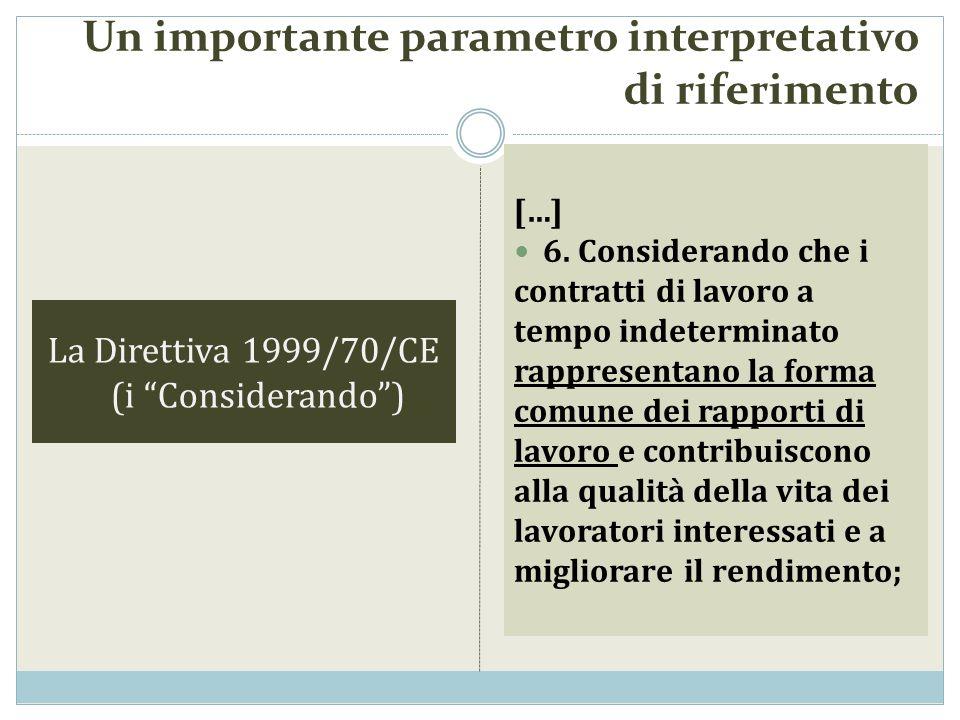La Direttiva 1999/70/CE (i Considerando) […] 6. Considerando che i contratti di lavoro a tempo indeterminato rappresentano la forma comune dei rapport