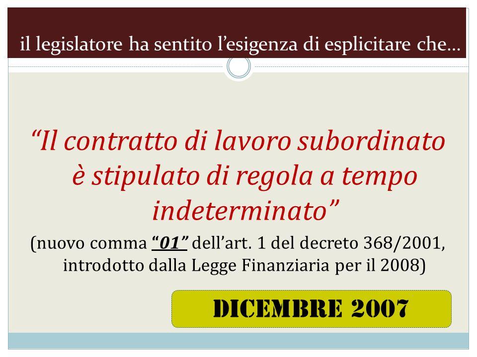 il legislatore ha sentito lesigenza di esplicitare che… Il contratto di lavoro subordinato è stipulato di regola a tempo indeterminato (nuovo comma 01 dellart.