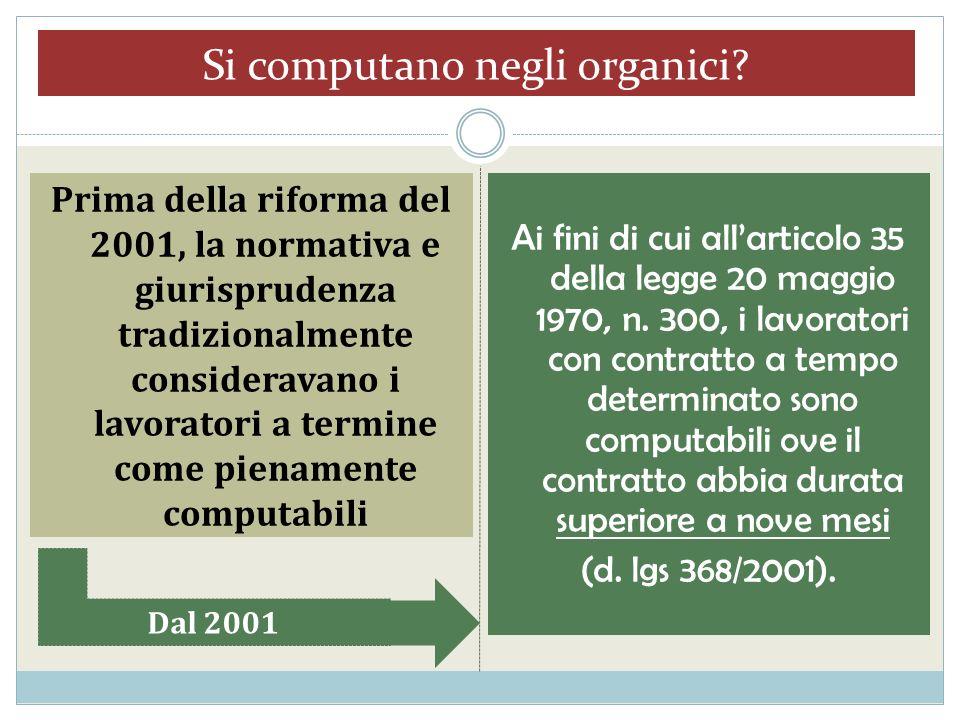 Si computano negli organici? Prima della riforma del 2001, la normativa e giurisprudenza tradizionalmente consideravano i lavoratori a termine come pi