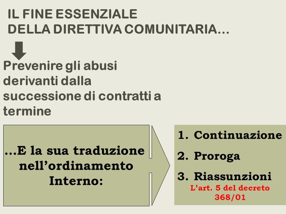 1.Continuazione 2.Proroga 3.Riassunzioni Lart. 5 del decreto 368/01 IL FINE ESSENZIALE DELLA DIRETTIVA COMUNITARIA… Prevenire gli abusi derivanti dall