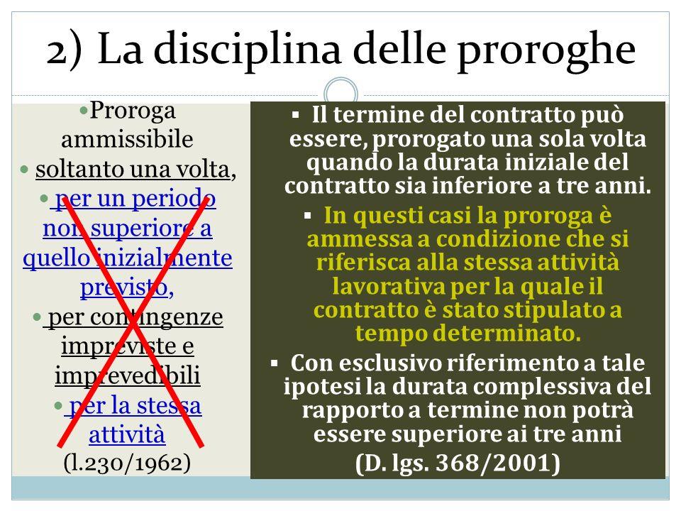 2) La disciplina delle proroghe Proroga ammissibile soltanto una volta, per un periodo non superiore a quello inizialmente previsto, per contingenze i