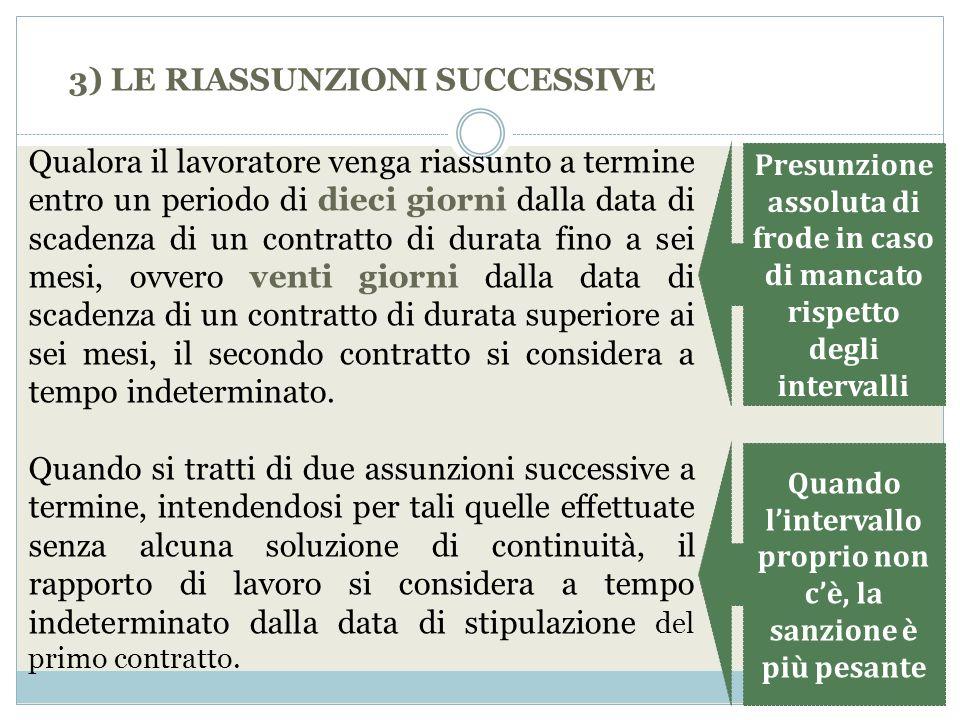 3) LE RIASSUNZIONI SUCCESSIVE Qualora il lavoratore venga riassunto a termine entro un periodo di dieci giorni dalla data di scadenza di un contratto