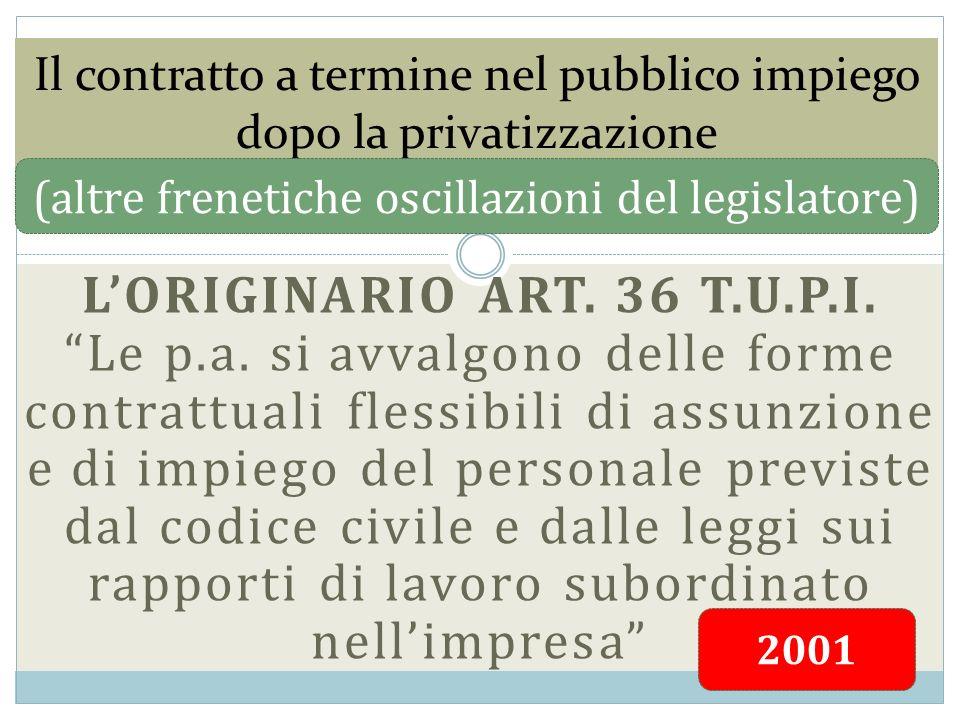 LORIGINARIO ART. 36 T.U.P.I. Le p.a. si avvalgono delle forme contrattuali flessibili di assunzione e di impiego del personale previste dal codice civ