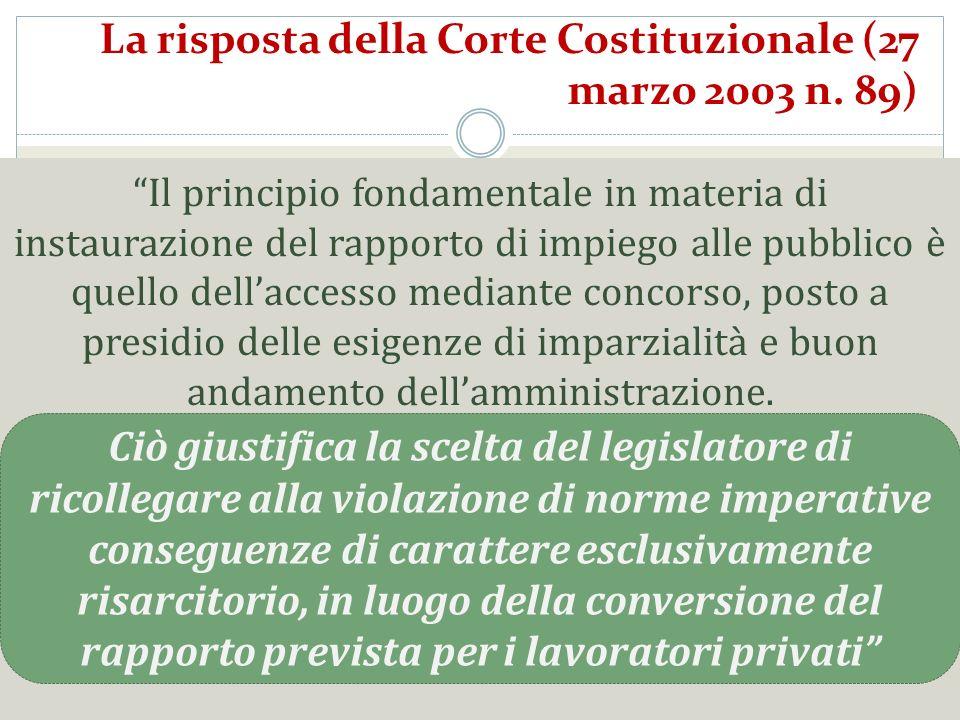 La risposta della Corte Costituzionale (27 marzo 2003 n. 89) Il principio fondamentale in materia di instaurazione del rapporto di impiego alle pubbli