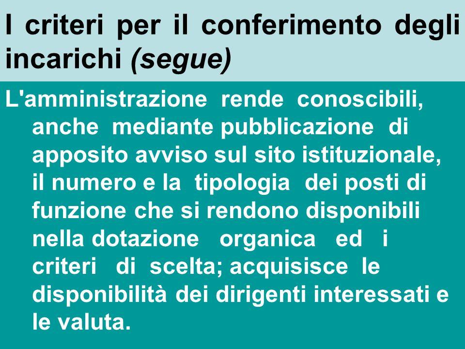 I criteri per il conferimento degli incarichi (art. 19 comma 1) In relazione alla natura e alle caratteristiche degli obiettivi prefissati e della com
