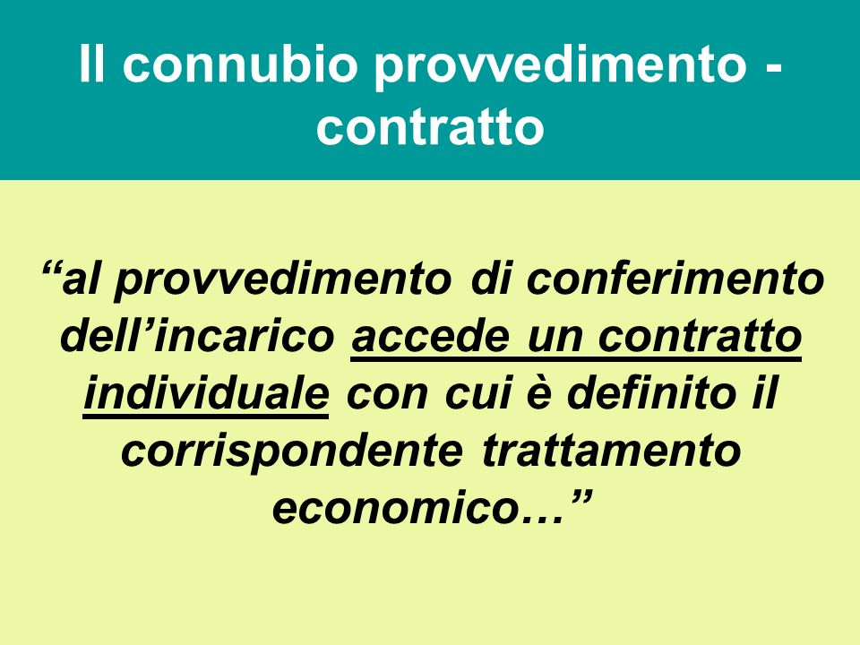 Loggetto dellincarico (art. 19, comma 2) Con il provvedimento di conferimento dell'incarico sono individuati l'oggetto dell'incarico e gli obiettivi d