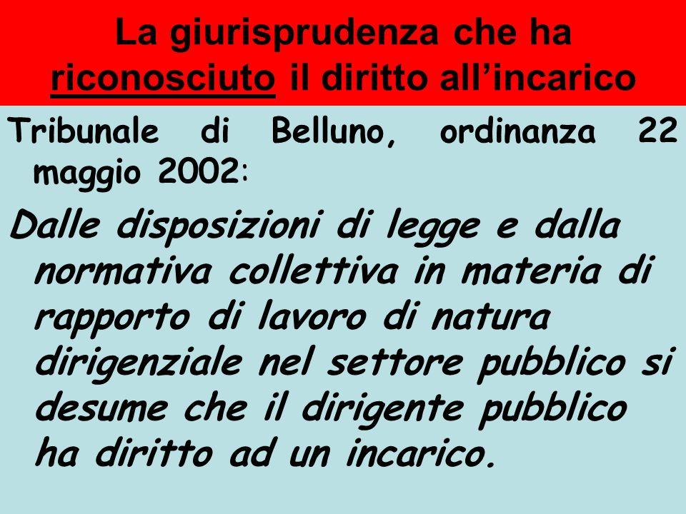 La giurisprudenza che ha disconosciuto il diritto allincarico Trib. S. Maria Capua Vetere, ordinanza 12 ottobre 2000: linserimento nel ruolo, con lass