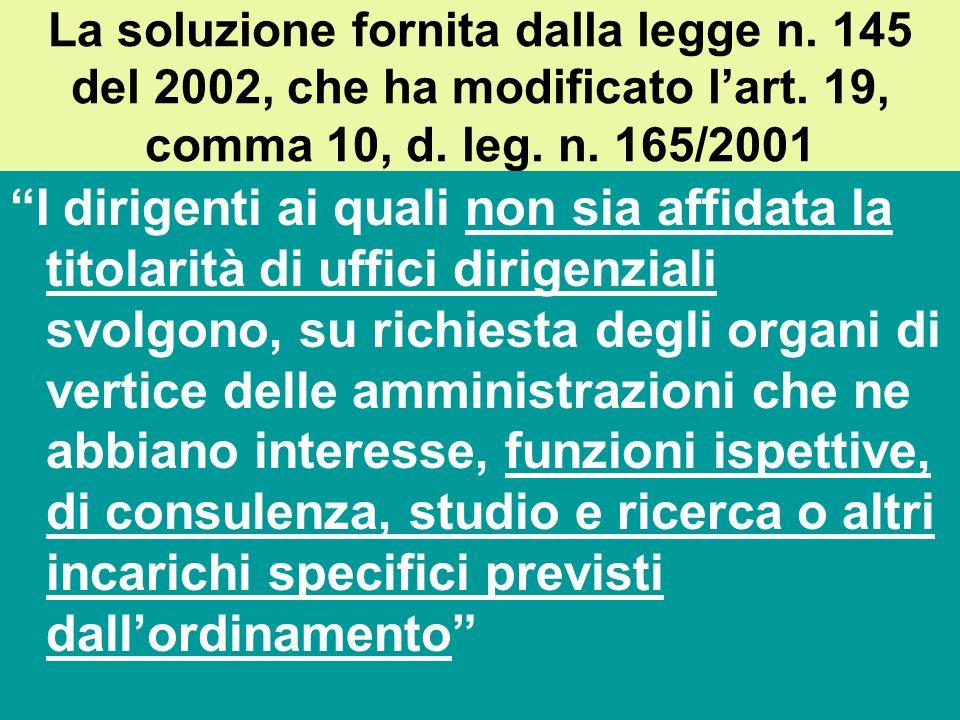 La giurisprudenza che ha riconosciuto il diritto allincarico Tribunale di Belluno, ordinanza 22 maggio 2002: Dalle disposizioni di legge e dalla norma