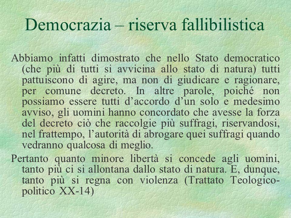 Democrazia – riserva fallibilistica Abbiamo infatti dimostrato che nello Stato democratico (che più di tutti si avvicina allo stato di natura) tutti p