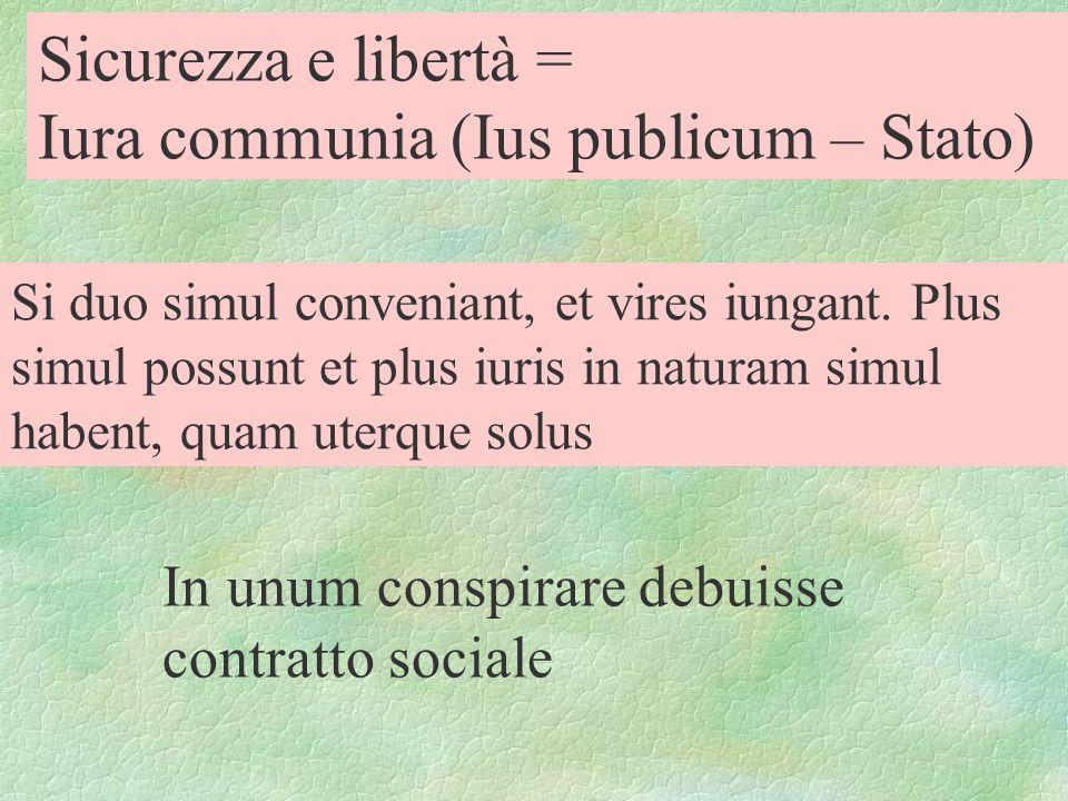 Sicurezza e libertà = Iura communia (Ius publicum – Stato) Si duo simul conveniant, et vires iungant. Plus simul possunt et plus iuris in naturam simu