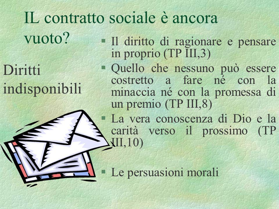 IL contratto sociale è ancora vuoto? §Il diritto di ragionare e pensare in proprio (TP III,3) §Quello che nessuno può essere costretto a fare né con l