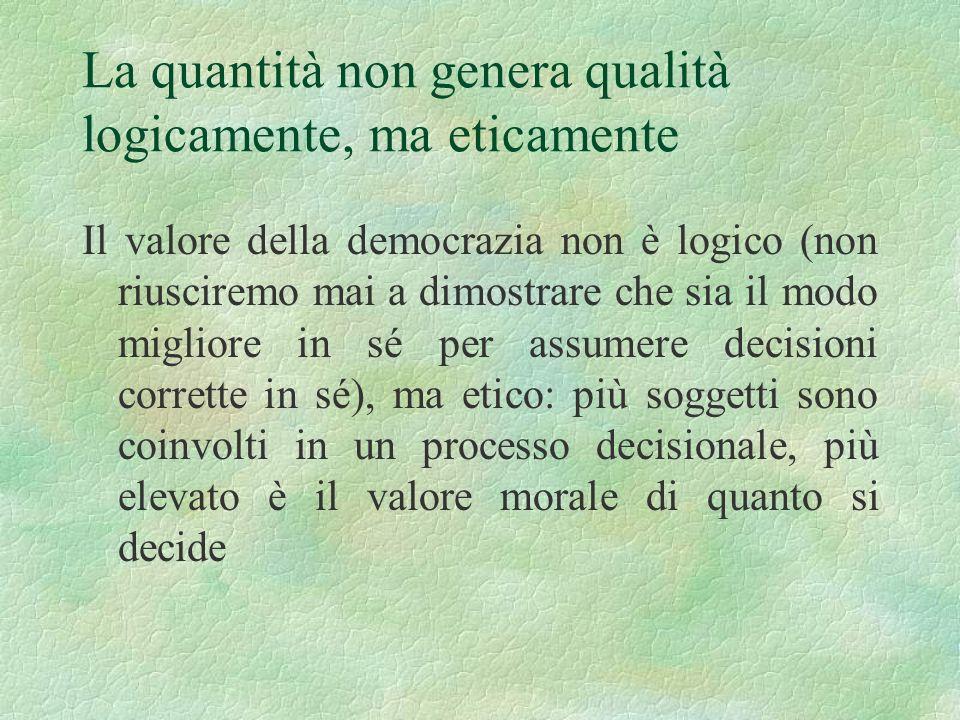 La quantità non genera qualità logicamente, ma eticamente Il valore della democrazia non è logico (non riusciremo mai a dimostrare che sia il modo mig
