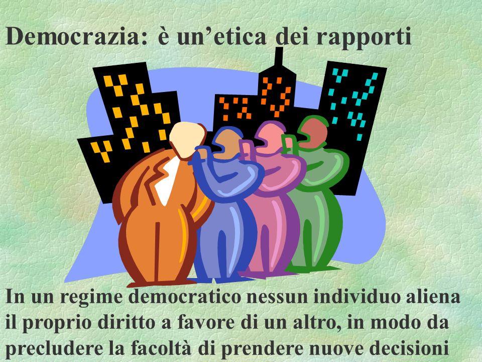 Democrazia: è unetica dei rapporti In un regime democratico nessun individuo aliena il proprio diritto a favore di un altro, in modo da precludere la
