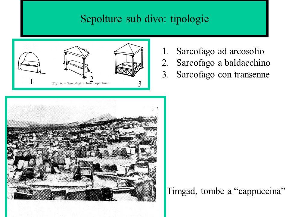 Sepolture sub divo: tipologie 1 2 3 1.Sarcofago ad arcosolio 2.Sarcofago a baldacchino 3.Sarcofago con transenne Timgad, tombe a cappuccina
